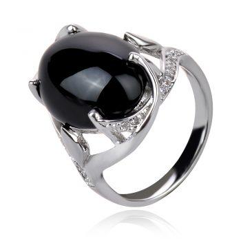 сребърен пръстен с черен оникс кабошон
