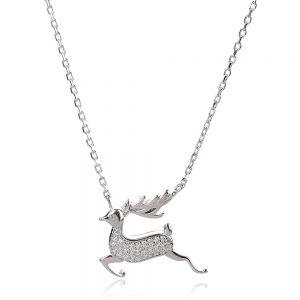 Сребърно колие еленче с цирконии