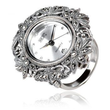 сребърен пръстен часовник
