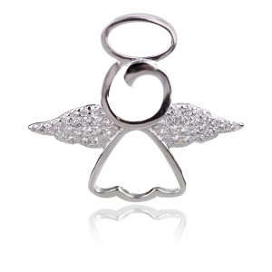 сребърен медальон ангелче