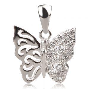 Сребърен медальон с цирконии , пеперуда