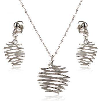 Италиански сребърен комплект с абстрактна форма