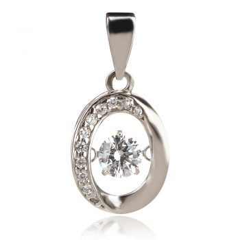 сребърен медальон с цирконии