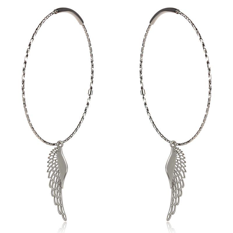 Сребърни обеци халки с висулка ангелско крило