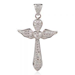 Сребърен кръст с цирконии, ангелски крила