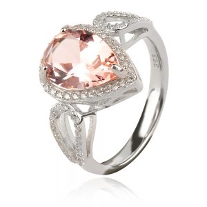 сребърен пръстен с естествен камък , морганит