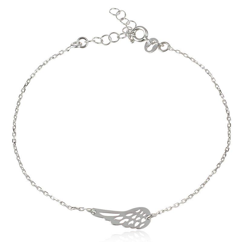 сребърна гривна , ангелско крило , родиево покритие