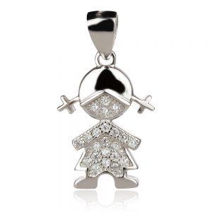 Сребърен медальон , дете, родиево покритие
