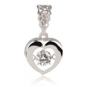 сребърен медальон сърце с танцуващ камък