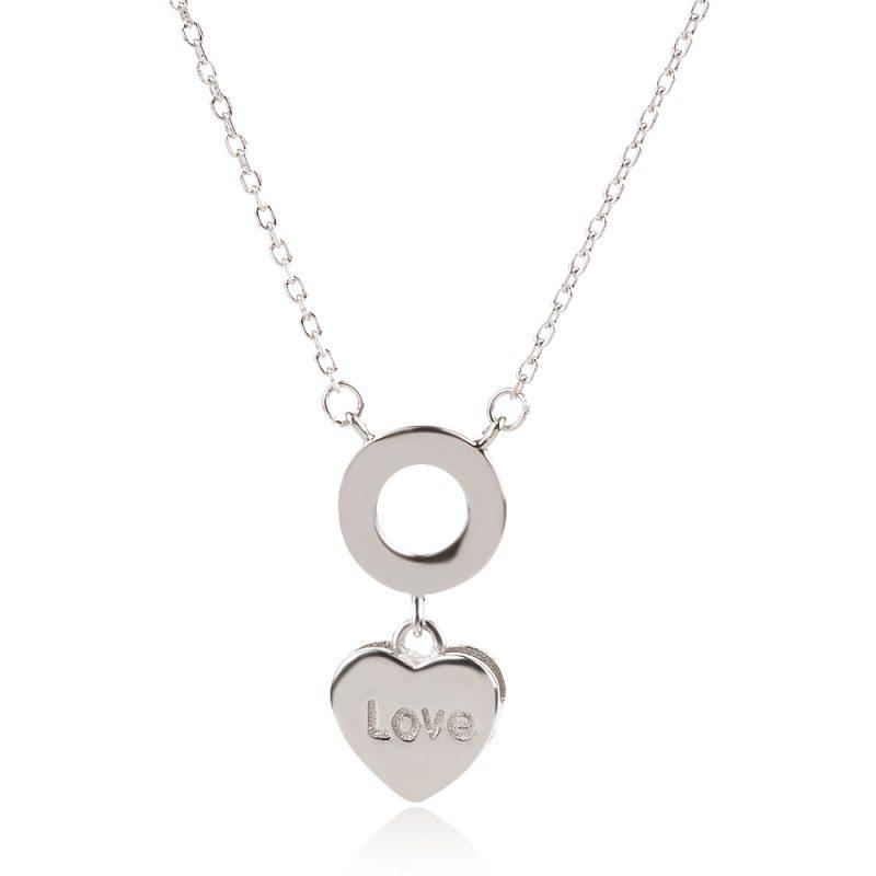 Сребърно колие сърце с надпис LOVE