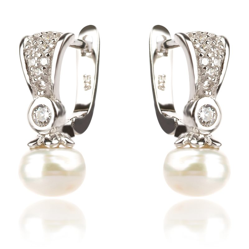 сребърен комплект с цирконии и перла