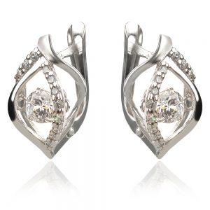 Сребърни обеци с танцуващ камък
