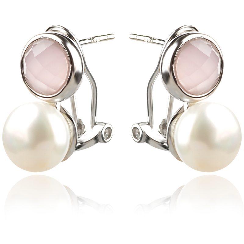 обеци с перли и розов кварц