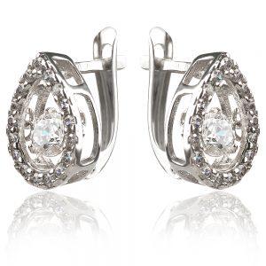 сребърни обеци капка с танцуващ камък