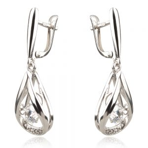 висящи сребърни обеци с танцуващ камък