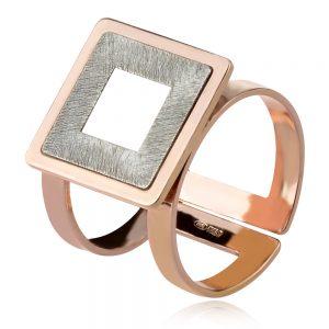 сребърен пръстен с розова позлата