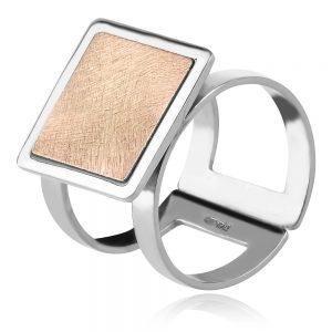 сребърен пръстен квадрат с розова позлата