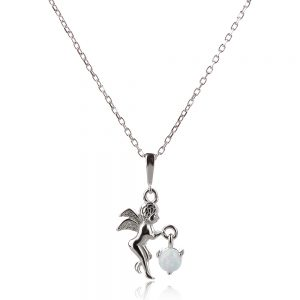 малко сребърно ангелче с опал