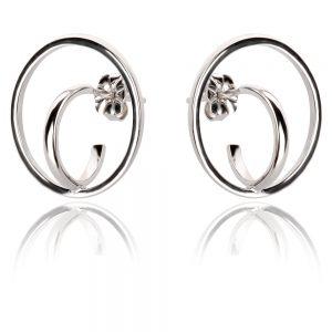 сребърни обеци с абстрактна форма
