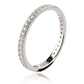 сребърен пръстен халка с циркони