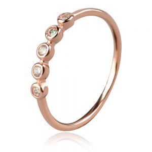 сребърен пръстен с розова позлата и циркони
