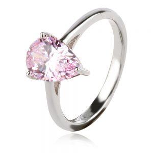 сребърен пръстен с нежно розов циркон капка