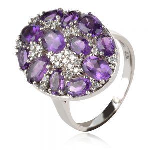 сребърен пръстен с естествен аметист