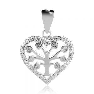сребърен медальон сърце дърво на живота
