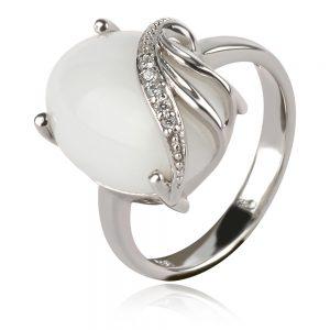 сребърен пръстен с бял оникс кабошон