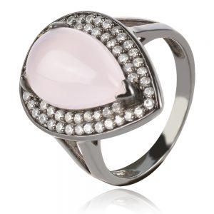 сребърен пръстен с розов кварц и рутений