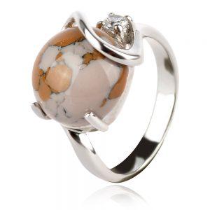 сребърен пръстен със змийски яспис