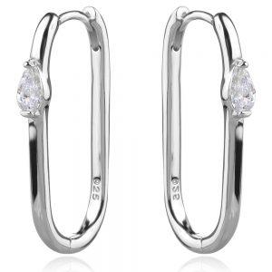 сребърни обеци халки с елипсовидна форма