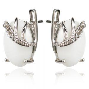 сребърни обеци с бял оникс кабошон