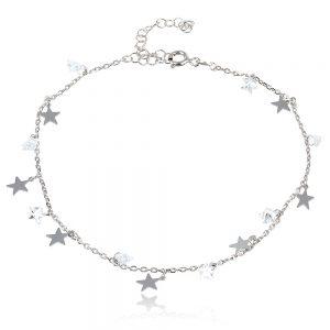 нежна сребърна гривна за глезен звездички