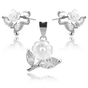 сребърен комплект цвете с микро перла седеф и циркон