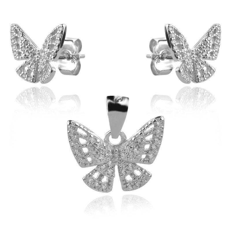сребърен комплект пеперуди