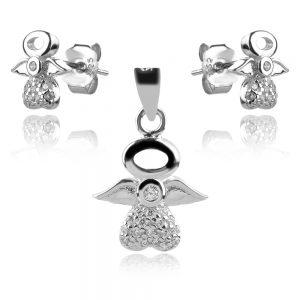 сребърен комплект ангелчета