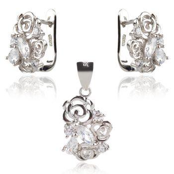 сребърен комплект със стилизирани цветя и циркони в различни форми