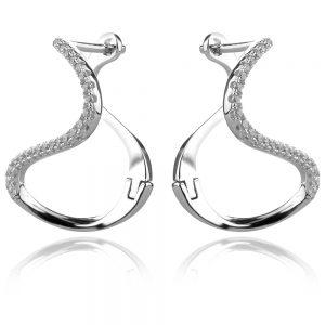 сребърни обеци с интересна абстрактна форма и циркони