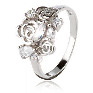 сребърен пръстен със стилизирани цветя и циркони