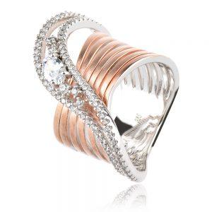 луксозен сребърен пръстен в сребро и розова позлата