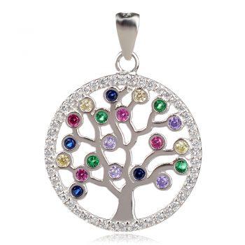 сребърен медальон дърво на живота с цветни камъни