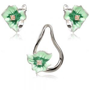 сребърен комплект със зелени цветя