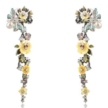 дълги изящни обеци GANEZZI с цветя , емайл и циркони