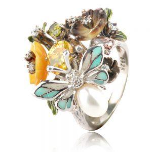 Цветен сребърен пръстен GANEZZI с цветя, корунди и циркони