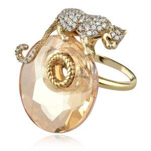 сребърен пръстен GANEZZI с пантера и кристал сваровски