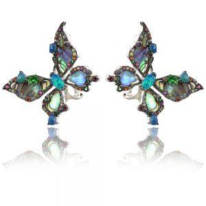 сребърни обеци GANEZZI пеперуди с кралски седеф и син опал