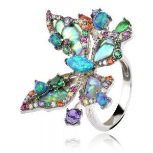 сребърен пръстен GANEZZI пеперуда с кралски седеф и син опал