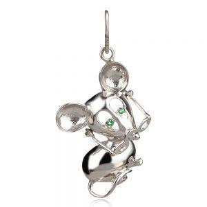 Сребърен медальон мишка със зелени очички и очила