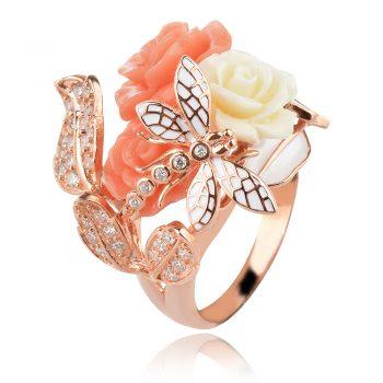 Сребърен пръстен с розова позлата, коралови рози и водно конче